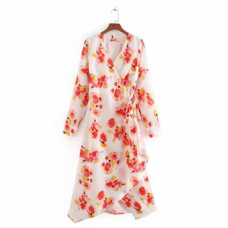 Fashion Print Lace Up Wrap Long Sleeve Dress Wholesale NHAM198438