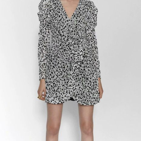Wholesale Fashion Animal Print Long Sleeve Dress NHAM198440's discount tags