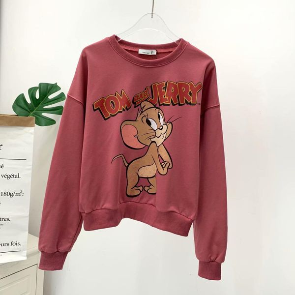 Spring note house pink cat and mouse cartoon women's sweater NHAM198442