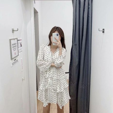 Fashion Spring Gold Polka Dot Long Sleeve Cake Dress Wholesale NHAM198444's discount tags
