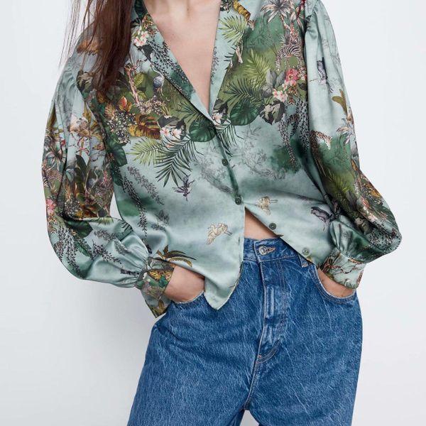 Wholesale spring printed draped blouse collar shirt blouse NHAM198445