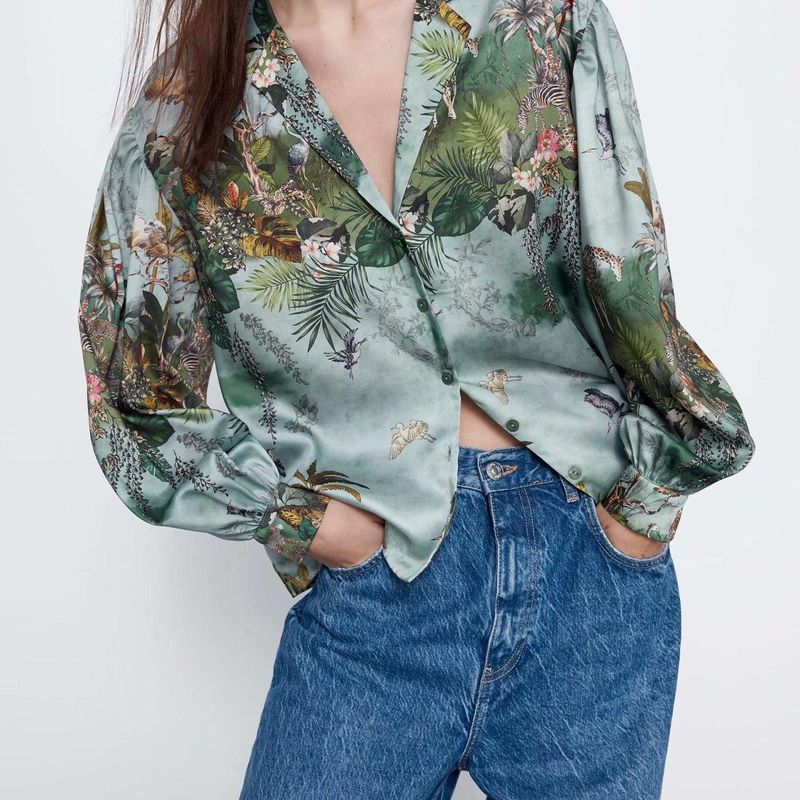 Wholesale spring printed draped blouse collar shirt blouse NHAM198445