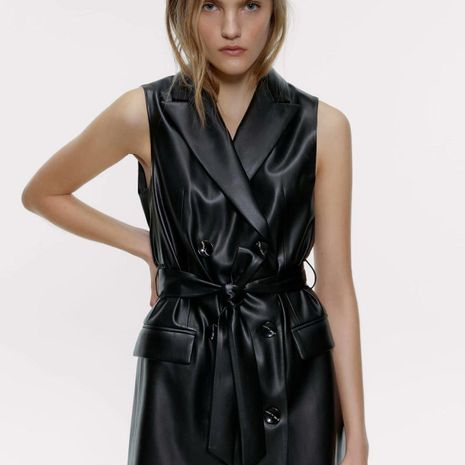 Wholesale Fashion Spring Faux Leather Vest Dress NHAM198446's discount tags