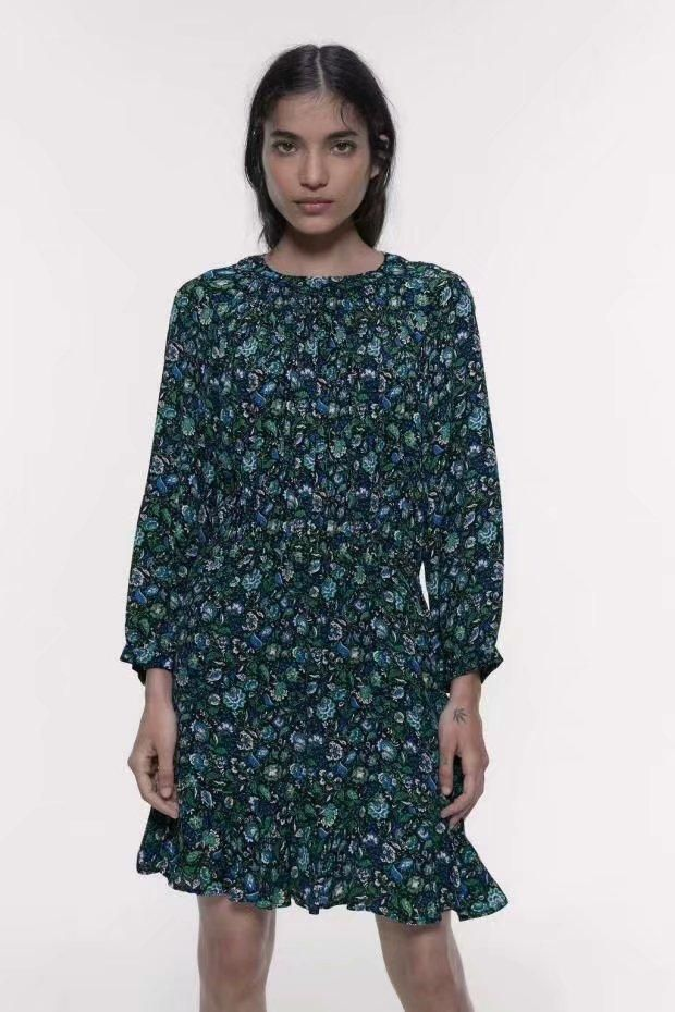Wholesale Fashion Print Mini Long Sleeve Dress NHAM198451