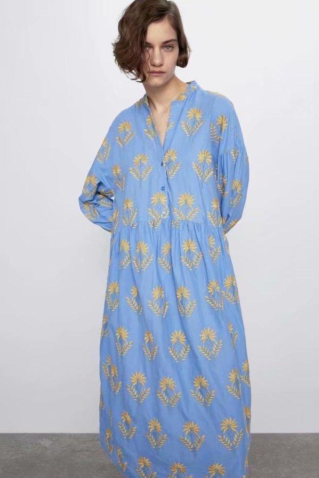 Spring Fashion Wild Loose Long Sleeve Long Dress Wholesale NHAM198455
