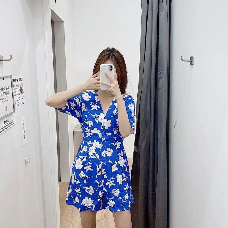 Wholesale Spring Flower Print Short Sleeve V-Neck Shorts Overalls NHAM198457