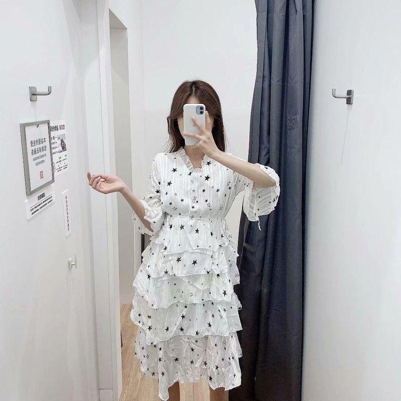 Fashion Flare Sleeve Star Bright Silk Cake Dress Wholesale NHAM198459