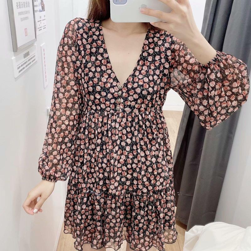 Fashion Spring Floral Long Sleeve Dress Wholesale NHAM198460