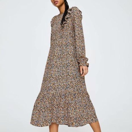 Fashion spring ruffled printed long-sleeved dress wholesale NHAM198461's discount tags