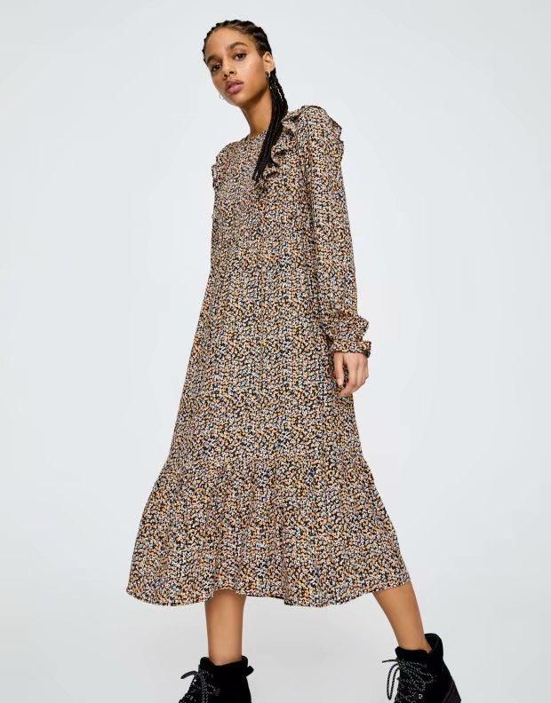 Fashion spring ruffled printed long-sleeved dress wholesale NHAM198461