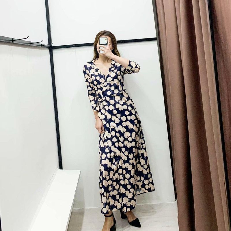 Fashion Printed V-Neck Lace Up Wrap Dress NHAM198462