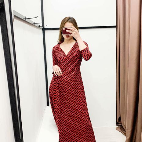 Fashion Spring Red Chain Print Slim Wrap Dress NHAM198463's discount tags