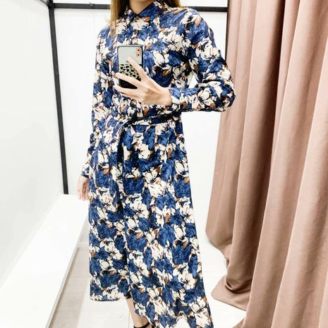 Fashion Spring Lapel Long Sleeve Lace Up Waist Print Shirt Jumpsuit Wholesale NHAM198464's discount tags