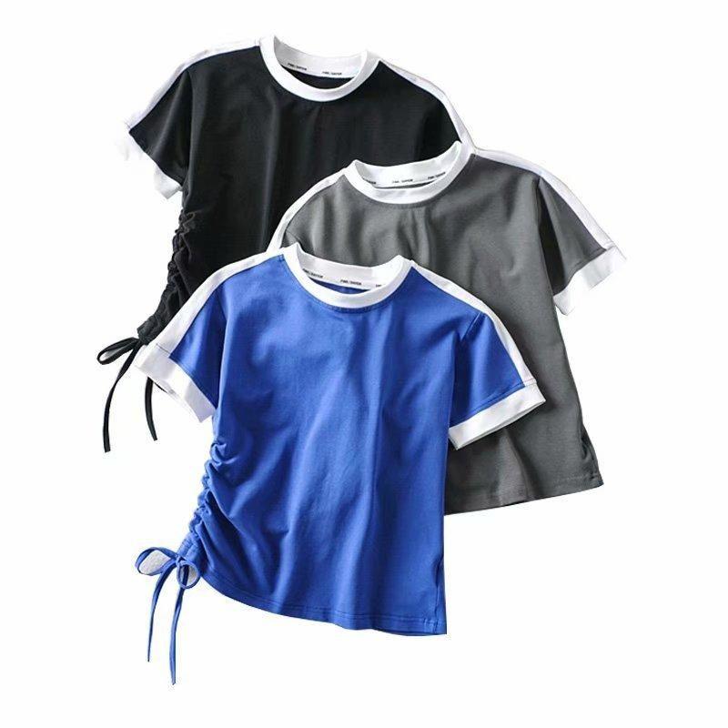 Spring high-quality drawstring short-sleeved T-shirt top NHAM198471