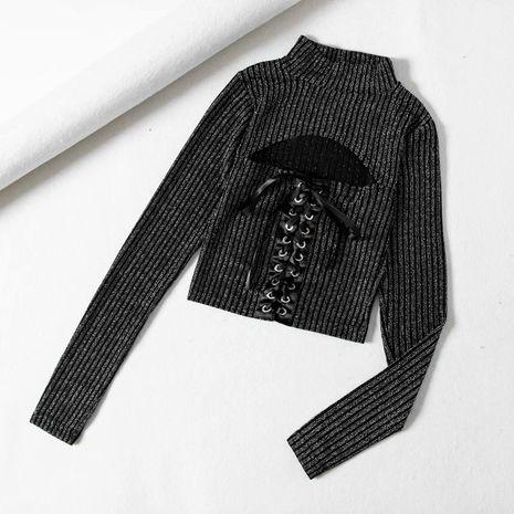 Tirantes de seda brillante con cordones y camiseta de manga larga que abraza la figura NHAM198476's discount tags