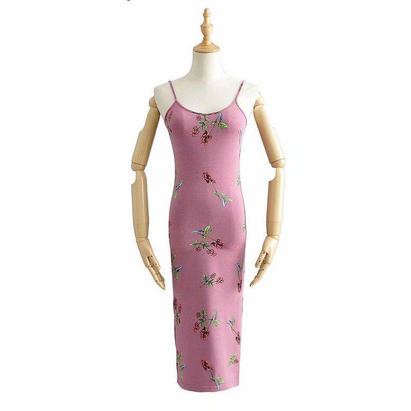 Spring fashion printed sling test split dress wholesale NHAM198486