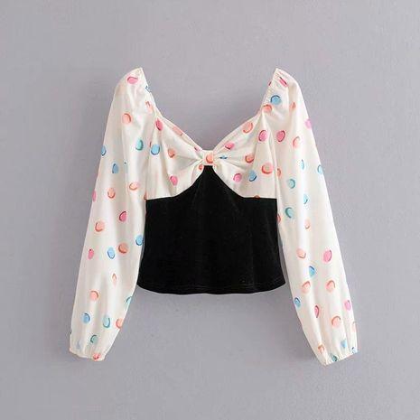 Blusa de terciopelo con costuras estampadas en primavera tops al por mayor NHAM198487's discount tags