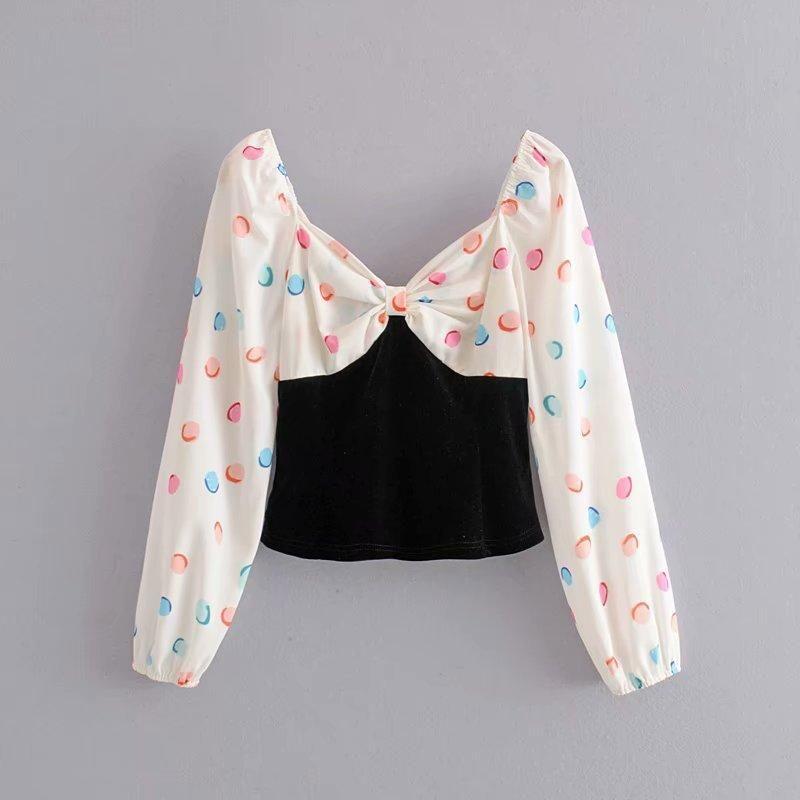 Spring printed stitching velvet blouse tops wholesale NHAM198487