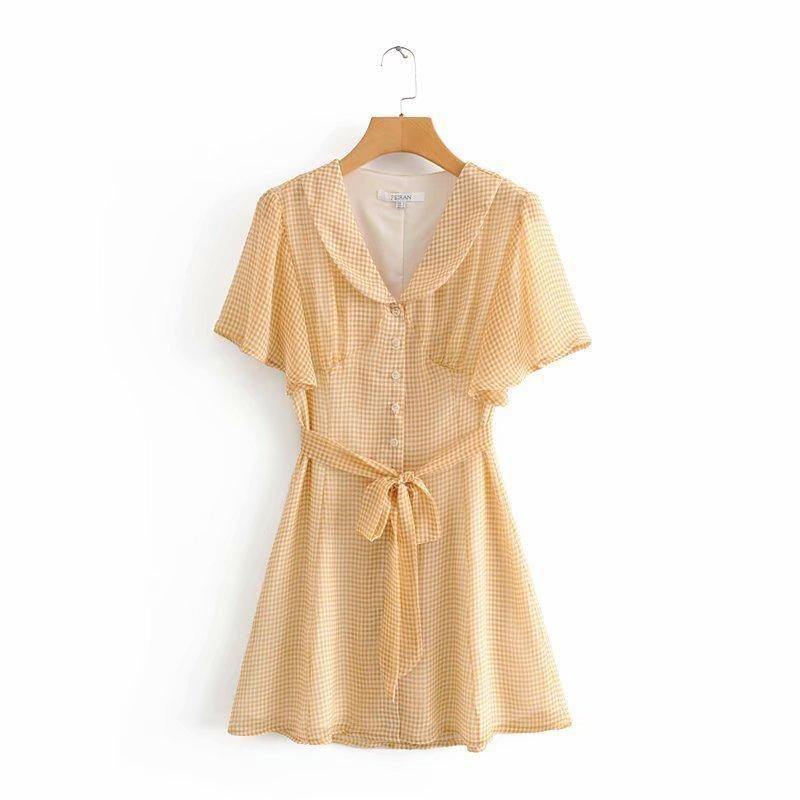Spring fashion yellow grid bow dress wholesale NHAM198489