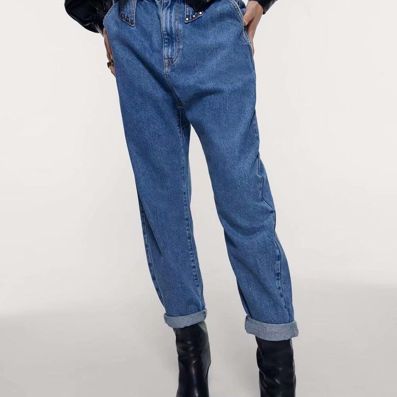 Wholesale Fashion Spring Paper Bag Waist Loose Pants Women's Jeans NHAM198500