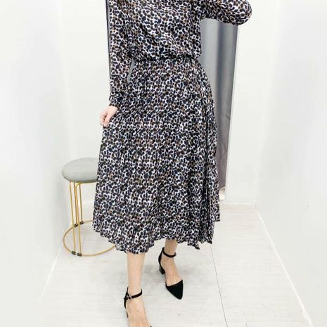 Spring fashion wild leopard pleated skirt wholesale NHAM198506's discount tags
