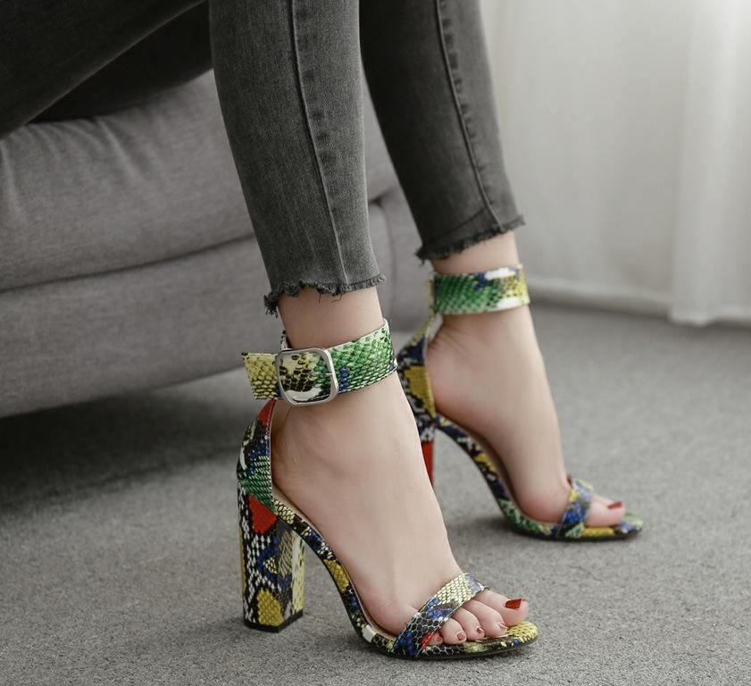 New womens shoes Europe and the United States colored snake pattern with highheeled sandals NHEH198512