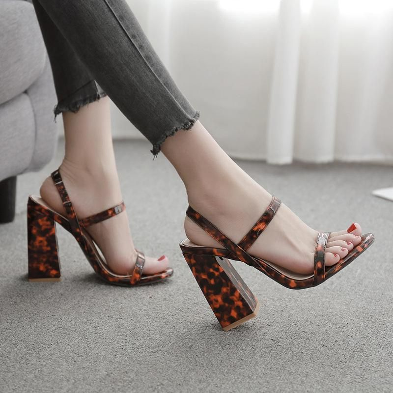 New women's shoes Europe and the United States sexy leopard thick heel high-heeled open toe sandals NHEH198519