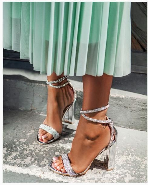 New Women's Shoes Europe and America Thick Heel Rhinestone High Heel Open Toe Cross Belt Sandals NHEH198528