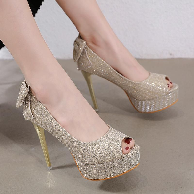 Korean fashion new bow fish mouth shallow mouth shoes women's stiletto heel platform shoes NHEH198529
