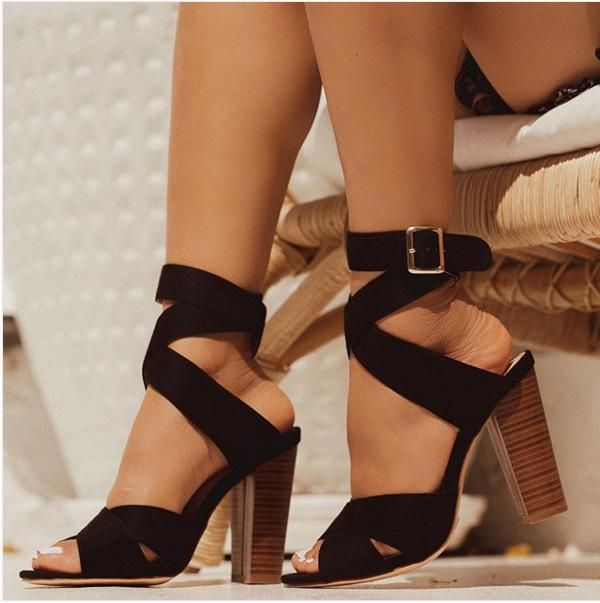 New Women's Shoes Roman Cross Strap Heeled Fish Head Sandals NHEH198532