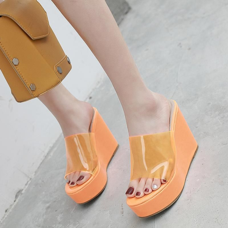 Summer new style colorful wedges heels sandals with thick sole slippers NHEH198534