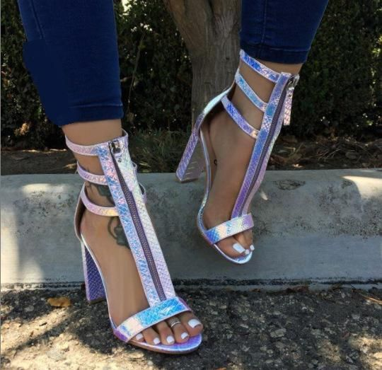New women's shoes Europe and the United States Rome thick high-heeled snake front zipper women's sandals NHEH198535