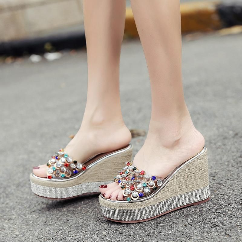 Bohemian slope with thick bottom colorful rhinestones wild fashion beach sandals and slippers for women NHHU198548