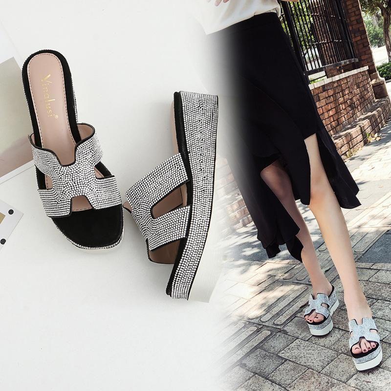 Thick bottom outwear new fashion rhinestone H type Korean wedge heel sandals women NHHU198549