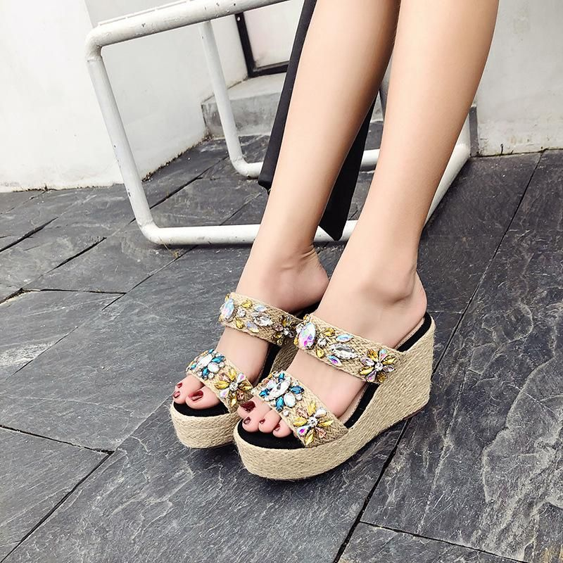Bohemian summer wedge heel hemp thick platform open-toe rhinestone high-heeled beach shoes NHHU198551