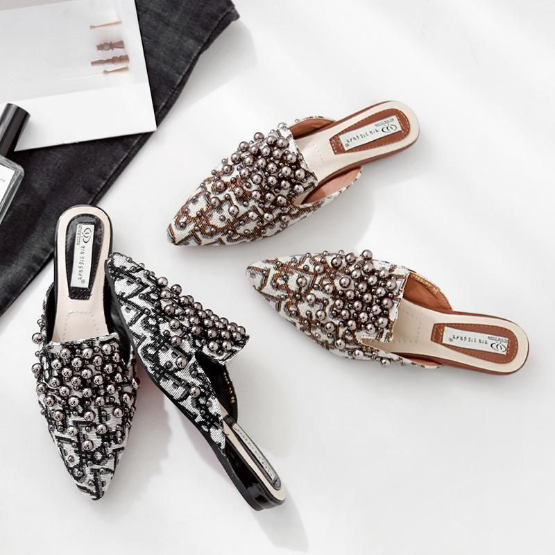 Explosion fashion spring and summer flat pointed metal beaded mules NHHU198557