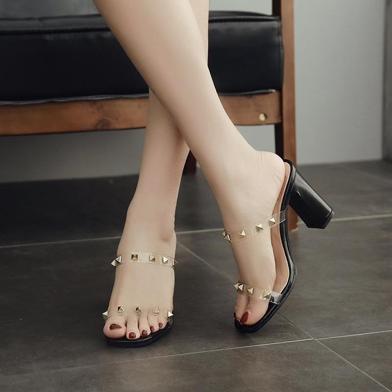 Summer new rivets open toe sexy transparent thick heel high heel flip flops NHHU198563