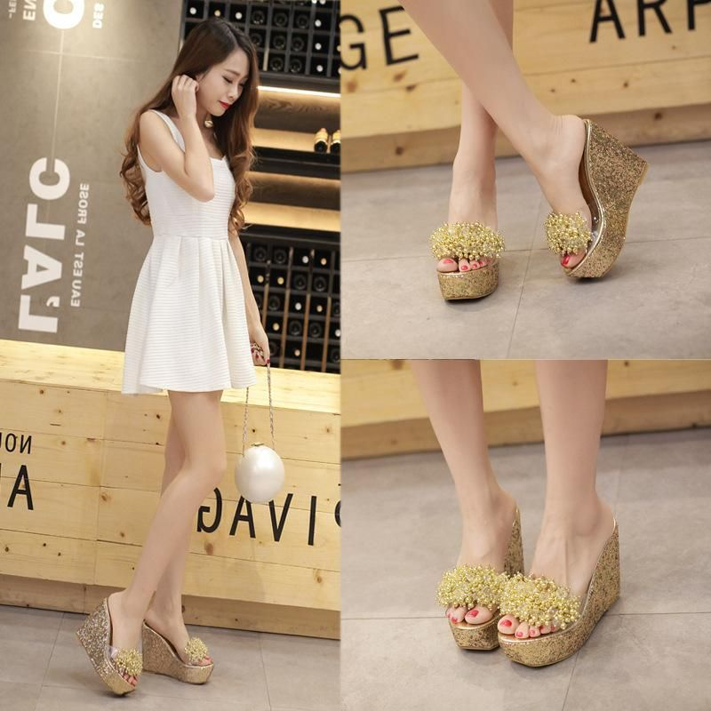 Summer new beach shoes bohemian transparent beaded slope with high heel flip flops NHHU198564