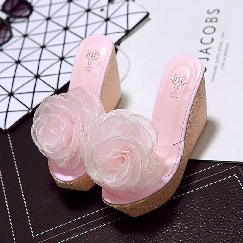 Summer new big flower thick-heeled high-heeled fish mouth transparent sandals and slippers NHHU198565