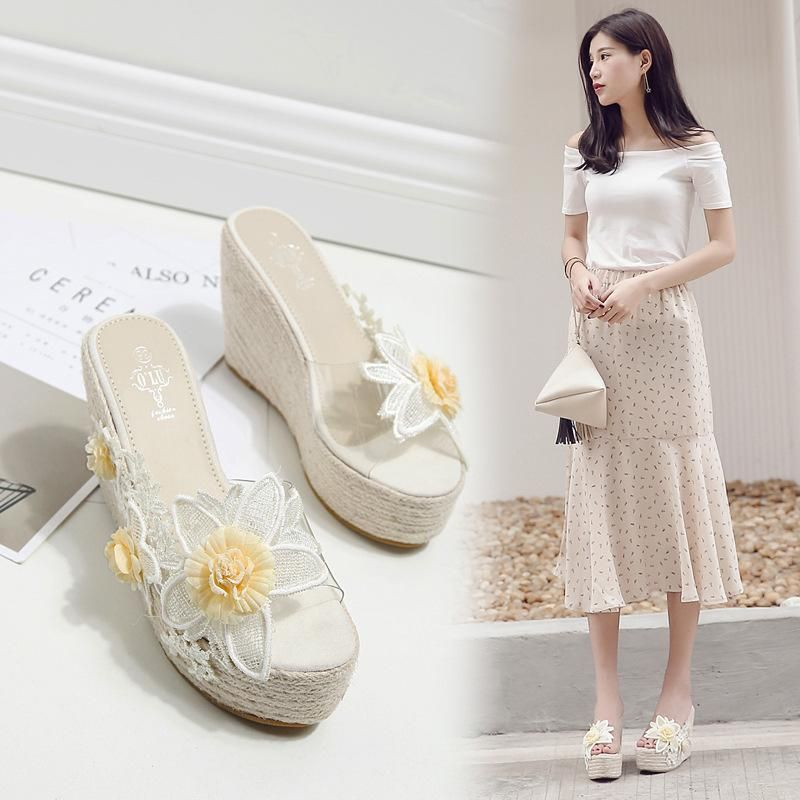 Summer boho flowers high heel pastoral style fashion slippers NHHU198566