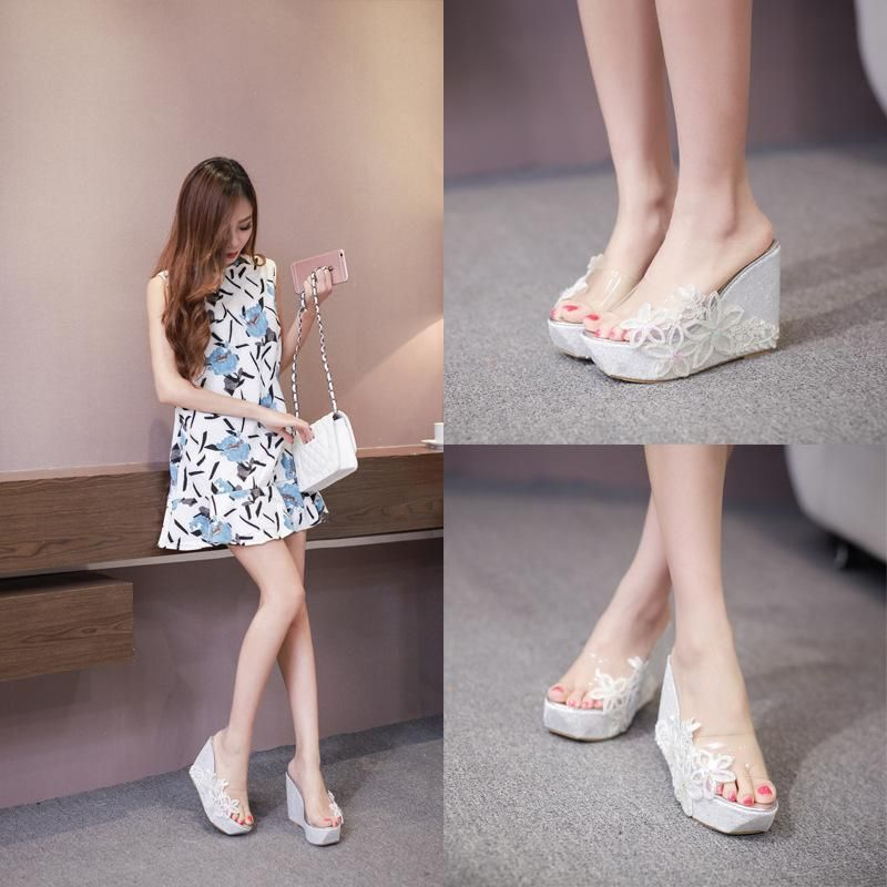 Summer new bohemian lace flowers high-heeled open-toed women's sandals and slippers NHHU198567