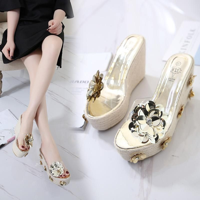 Women's summer slippers with thick bottom hemp rope woven flowers sequins slippers NHHU198568
