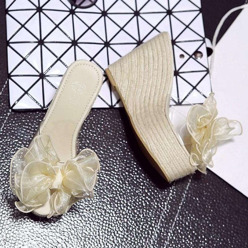 Summer Bohemian Bow Transparent Wedge Heel Platform Heel Sandals NHHU198570