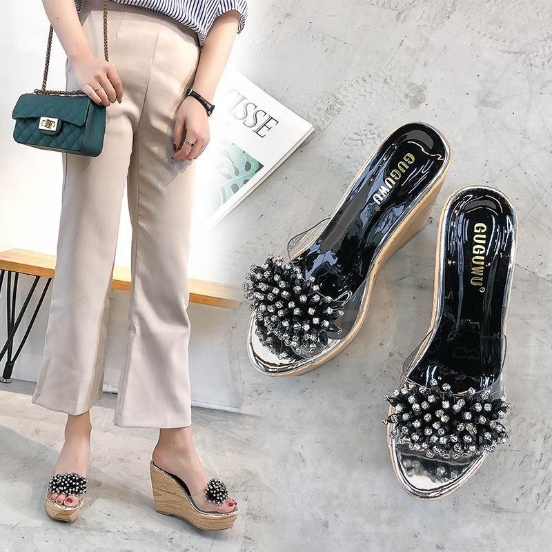 Summer rhinestone transparent beach shoes NHHU198571