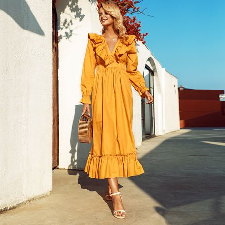 Long sleeve dress long elegant and conservative fashion wholesales fashion NHDE198591's discount tags