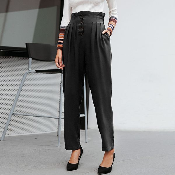 Fashion simple style solid color pants wild ladies wholesale NHDE198597