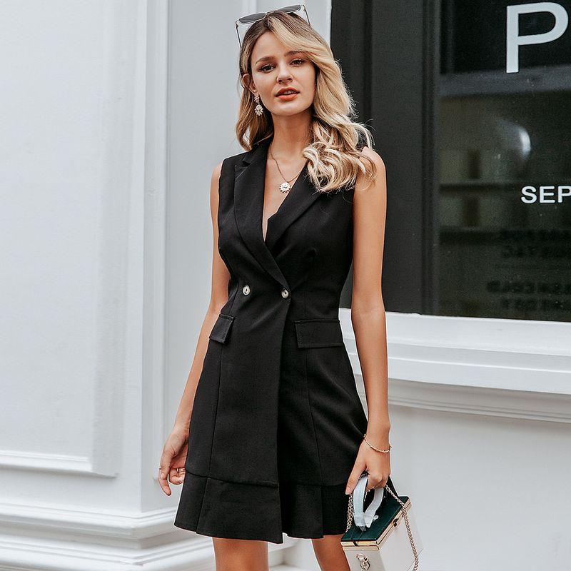 Fashion women's dress wholesale solid color sleeveless dress sexy elegant skirt NHDE198604