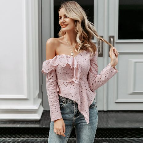 Sexy word shoulder top cute elegant fashion women's clothing wholesale NHDE198606's discount tags