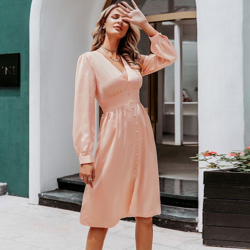 Sweet satin long sleeve dress wholesale women's fashion clothes NHDE198609