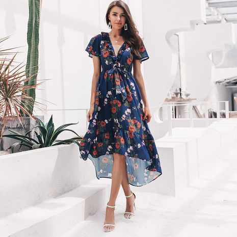 Sexy chiffon V-neck print dress wholesale women's fashion clothes NHDE198610's discount tags